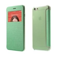 Flipové pouzdro pro Apple iPhone 6 Plus / 6S Plus s průhledným prvkem / výřezem pro displej - zelené