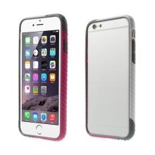 Plasto-gumový rámeček / bumper pro Apple iPhone 6 / 6S - vroubkatý černo-růžovo-šedý