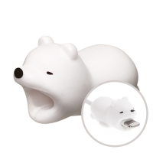 Ochrana / rozlišovač / dekorace na standardní tloušťku nabíjecích / synchronizačních kabelů - bílý medvěd