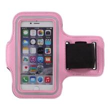 Sportovní pouzdro pro Apple iPhone 6 / 6S / 7 / 8 / SE (2020) - růžové s reflexním pruhem