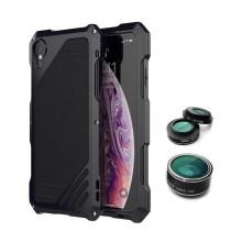 Pouzdro / kryt pro Apple iPhone X / Xs - odolné - tvrzené přední sklo - výměnné objektivy - hliník / silikon - černé