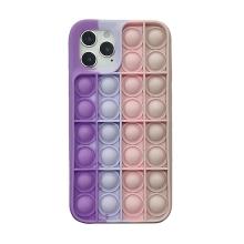"""Kryt pro Apple iPhone 12 / 12 Pro - bubliny """"Pop it"""" - silikonový - růžový / fialový"""