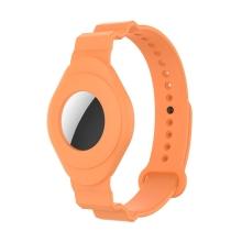 Náramek pro Apple AirTag - pro děti - silikonový - oranžový