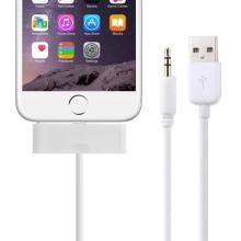 Synchronizační, nabíjecí a 3,5 mm AUX audio propojovací kabel pro Apple iPhone 6 / 6S - bílý - 1m
