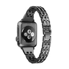 Řemínek pro Apple Watch 44mm Series 4 / 5 / 6 / SE / 42mm 1 / 2 / 3 - s kamínky - kovový - tmavě šedý