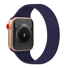 Řemínek pro Apple Watch 44mm Series 4 / 5 / 6 / SE / 42mm 1 / 2 / 3 - bez spony - silikonový - velikost M - modrý