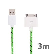 Synchronizační a nabíjecí kabel s 30pin konektorem pro Apple iPhone / iPad / iPod - tkanička - zelený - 3m