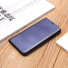 Pouzdro pro Apple iPhone X - plast / umělá kůže - průhledná přední strana - stojánek - černé