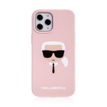 Kryt KARL LAGERFELD Head pro Apple iPhone 12 Pro Max - hlava Karla - silikonový - růžový