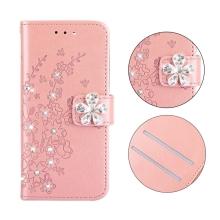 Pouzdro pro Apple iPhone Xs Max - motiv květin - s kamínky - Rose Gold růžové