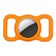 Kryt pro Apple AirTag - spona na batoh / psí obojek - silikonový - oranžový