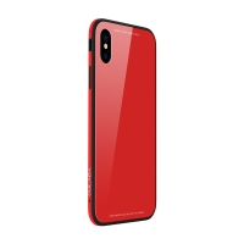 Kryt SULADA pro Apple iPhone Xr - kov / sklo - červený