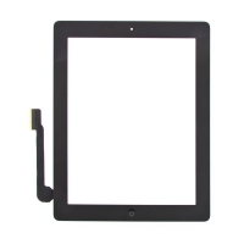 Dotykové sklo (touch screen) pro Apple iPad 3.gen. - osazené - Home Button + konzole na fotoaparát - černé - kvalita A+