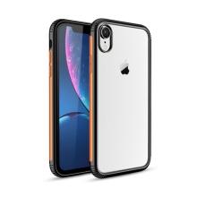 Kryt pro Apple iPhone Xr - plastový / gumový - průhledný / černý - oranžový proužek