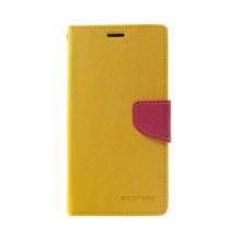 Pouzdro Mercury Fancy Diary pro Apple iPhone Xs Max - stojánek a prostor pro doklady - žluté / růžové