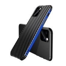 Kryt pro Apple iPhone 11 Pro - kovový / plastový - karbonová textura - černý / modrý