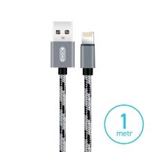 Synchronizační a nabíjecí kabel XO - Lightning pro Apple zařízení - tkanička - šedý / černý - 1m
