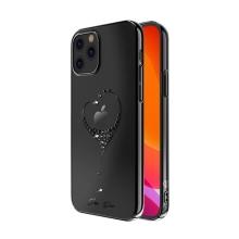 Kryt KINGXBAR pro Apple iPhone 12 / 12 Pro - s kamínky - plastový - černé srdce