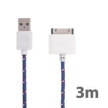 Synchronizační a nabíjecí kabel s 30pin konektorem pro Apple iPhone / iPad / iPod - tkanička - fialový - 3m