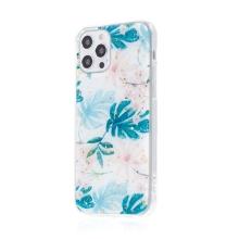 Kryt FORCELL pro Apple iPhone 12 / 12 Pro - zlaté úlomky - gumový / plastový - listy a květy