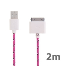 Synchronizační a nabíjecí kabel s 30pin konektorem pro Apple iPhone / iPad / iPod - tkanička - růžový - 2m