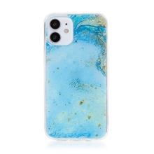 Kryt FORCELL pro Apple iPhone 12 mini - mramorová textura a zlaté úlomky - gumový - modrý