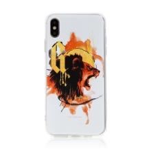 Kryt Harry Potter pro Apple iPhone Xs Max - gumový - lev Nebelvíru - bílý