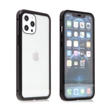 Kryt pro Apple iPhone 12 Pro Max - magnetické uchycení - sklo / kov - 360° ochrana - průhledný / černý
