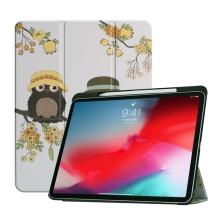 """Pouzdro pro Apple iPad Pro 11"""" - funkce chytrého uspání + stojánek - sovičky v klobouku"""