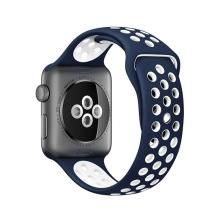 Řemínek pro Apple Watch 44mm Series 4 / 5 / 42mm 1 2 3 - silikonový - modrý / bílý - (M/L)