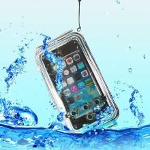 Vodotěsné pouzdro s odolností do 40m hloubky (IPX8) pro Apple iPhone 5 / 5C / 5S / SE - modro-průhledné