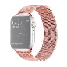 Řemínek pro Apple Watch 40mm Series 4 / 5 / 6 / SE / 38mm 1 / 2 / 3 - nerezový - růžový