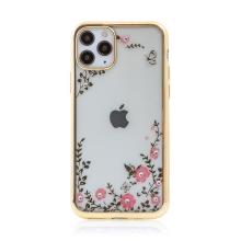 Kryt FORCELL Diamond pro Apple iPhone 11 Pro Max - gumový - květiny a kamínky - zlatý rámeček