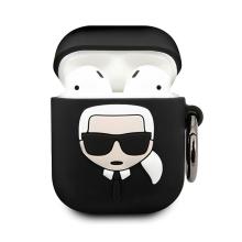 Pouzdro KARL LAGERFELD pro Apple AirPods - silikonové - černé