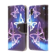Pouzdro pro Apple iPhone Xr - stojánek + prostor pro platební karty - umělá kůže - motýli