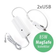 Autonabíječka pro Apple MacBook Pro 15 / 17 s 2x USB porty - 85W MagSafe - bílá