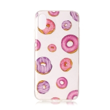 Kryt pro Apple iPhone X / Xs - gumový - růžové donuty