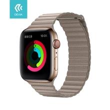 Řemínek DEVIA pro Apple Watch 44mm Series 4 / 5 / 42mm 1 2 3 - umělá kůže - kamenně hnědý