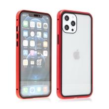 Kryt pro Apple iPhone 12 / 12 Pro - magnetické uchycení - sklo / kov - 360° ochrana - průhledný / červený