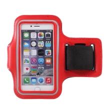 Sportovní pouzdro pro Apple iPhone 6 / 6S / 7 / 8 / SE (2020) - červené s reflexním pruhem