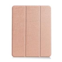 Pouzdro / kryt pro Apple iPad Air 4 (2020) - chytré uspání - držák Apple Pencil - umělá kůže - Rose Gold růžové
