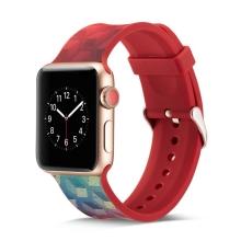 Řemínek pro Apple Watch 44mm Series 4 / 5 / 6 / SE / 42mm 1 / 2 / 3 - silikonový - krychlový vzor