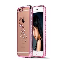 Kryt pro Apple iPhone 6 / 6S gumový s lesklými kamínky - páv - Rose Gold růžový