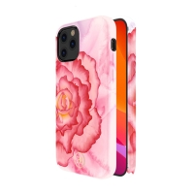 Kryt KINGXBAR pro Apple iPhone 12 / 12 Pro - gumový - růžová pivoňka