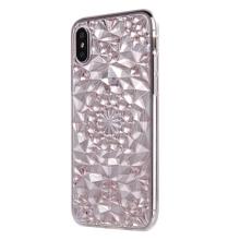 Kryt SULADA pro Apple iPhone X - 3D diamantová textura - gumový - růžový