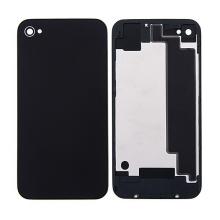 Náhradní zadní kryt (sklo) bez loga pro Apple iPhone 4S - černý