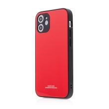 Kryt FORCELL Glass pro Apple iPhone 12 mini - gumový / skleněný - červený