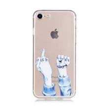 Kryt pro Apple iPhone 7 / 8 gumový - průhledný / gesto f**k you