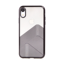Kryt SULADA pro Apple iPhone Xr - lesklé vlnky - gumový - průhledný / černý