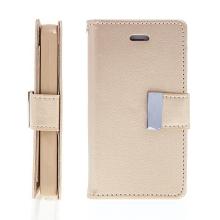 Vyklápěcí pouzdro - peněženka Mercury pro Apple iPhone 4 / 4S - s prostorem pro umístění platebních karet - zlaté